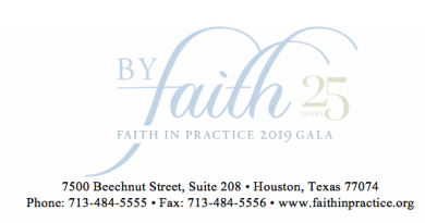 BAYLOR SCOTT & WHITE ORTHOPEDIC AND SPINE HOSPITAL AT ARLINGTON IS SIGNATURE SPONSOR AT FAITH IN PRACTICE 25TH ANNIVESARY GALA